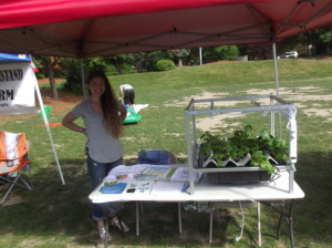 Acopia Harvest International Booth, Hydroponics - Monica from Central Falls, R.I, and Kavohn, (not pictured)