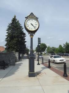 Antique clock that graces the sidewalk outside the park