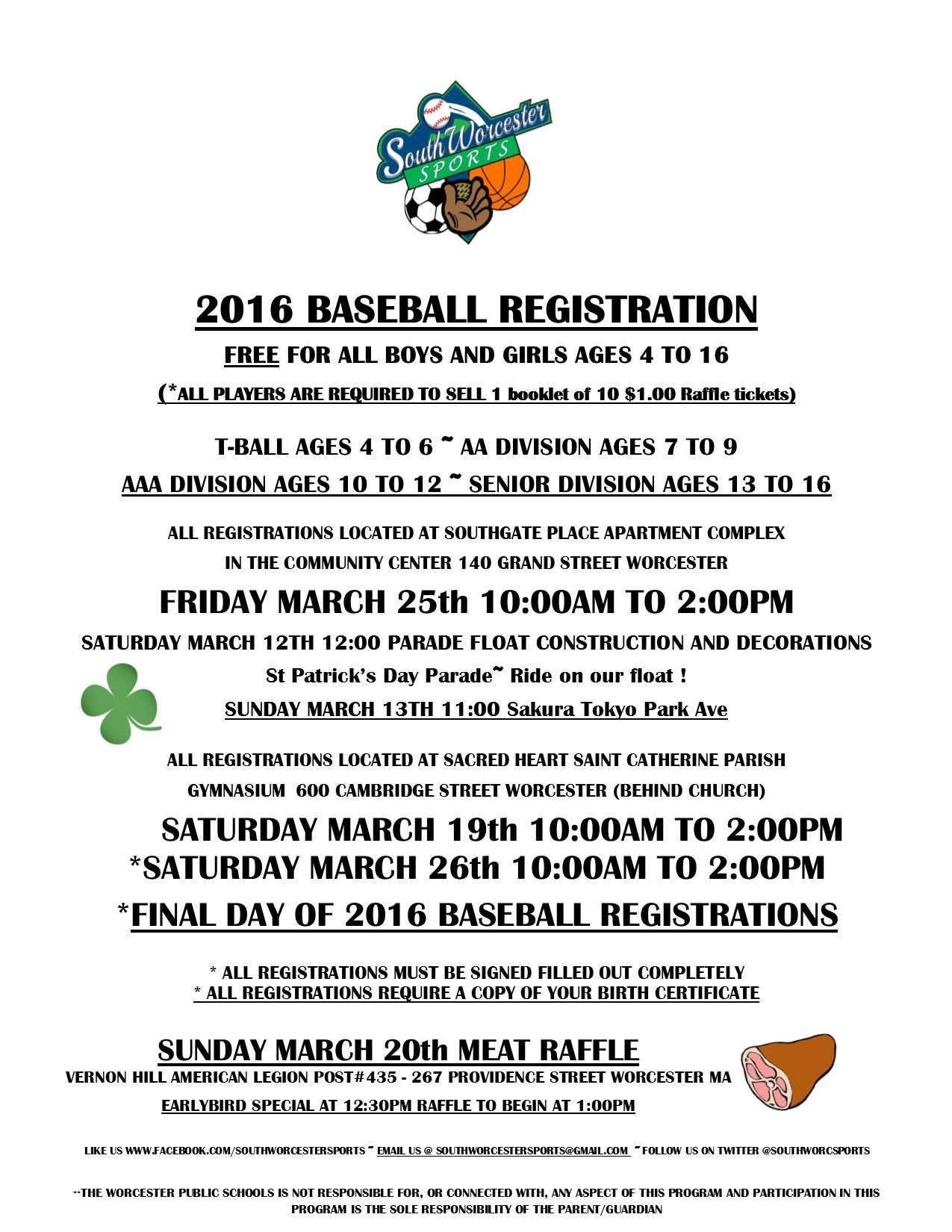 March Baseball Registration Announcement 2016
