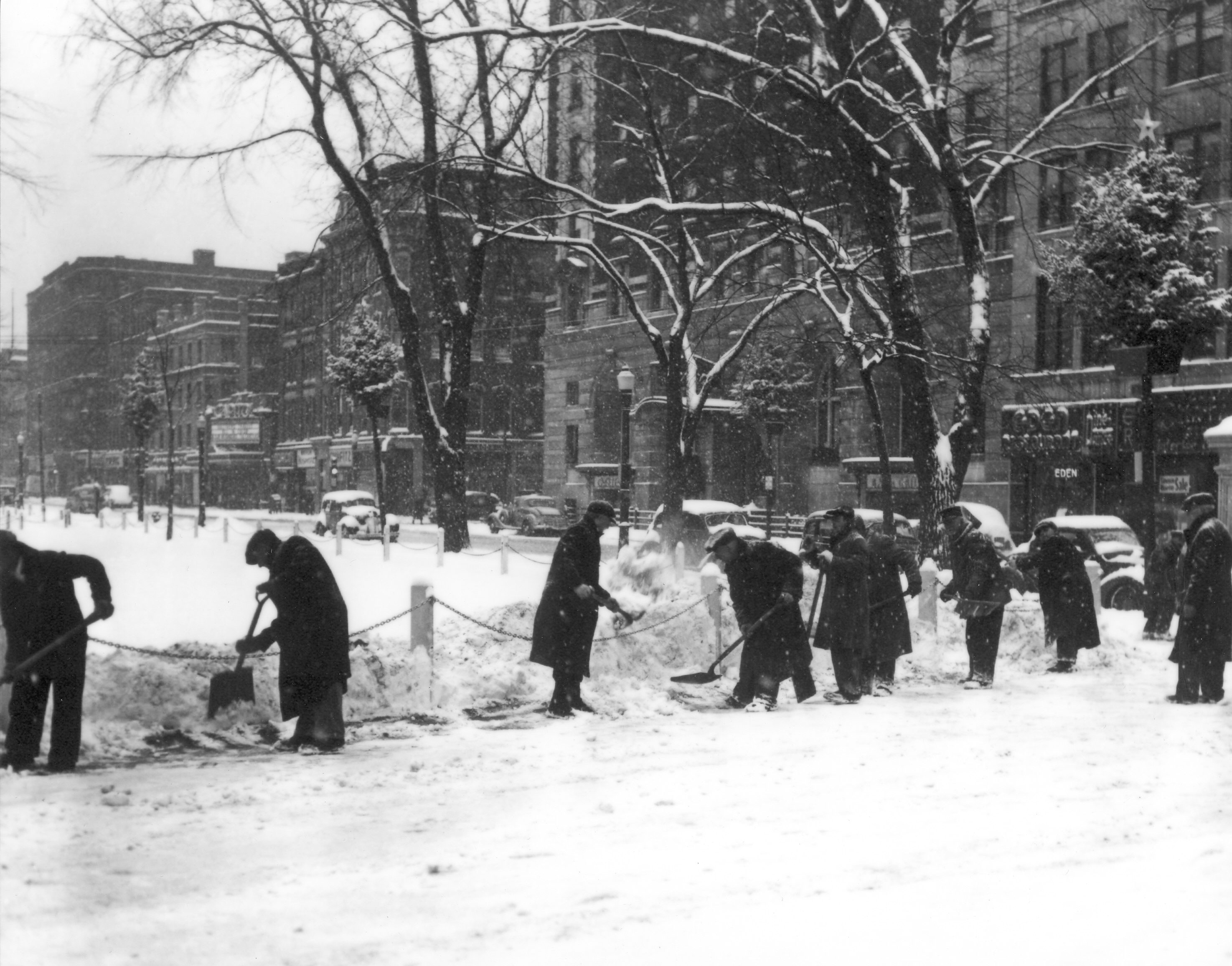 Shoveling snow near Worcester Common (1939)