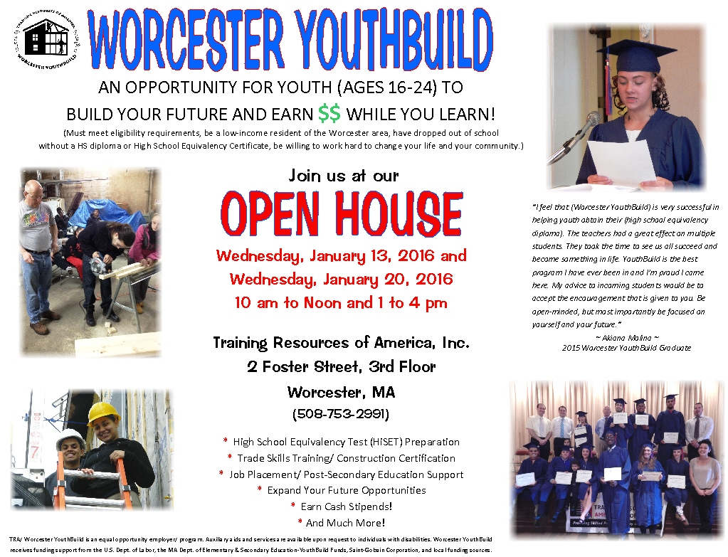 TRA-Worcester YouthBuild Open House Flyer.1-16