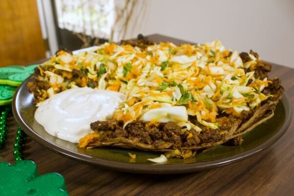 Vegan-St.-Patricks-Day-Irish-Nacho-Pie-Recipe-with-Cashew-Sour-Cream-602x401